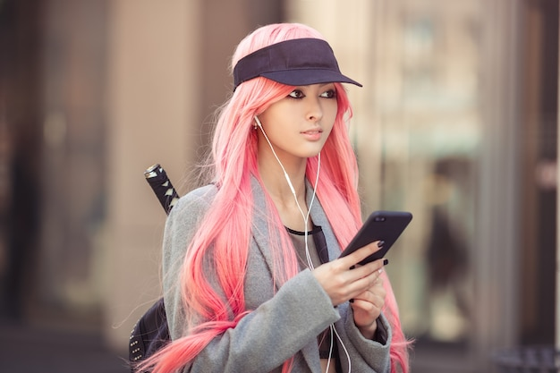 Japan anime cosplay. fashion asian girl outdoors.