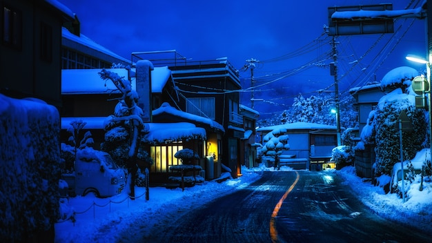 Japan evening twilight time in countryside