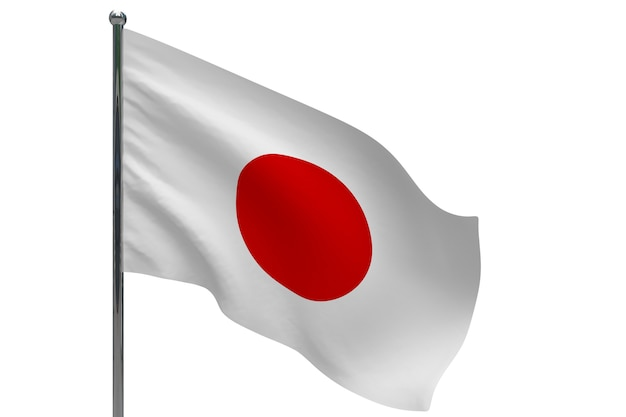 ポールに日の丸。金属製の旗竿。白の3dイラストの日本の国旗