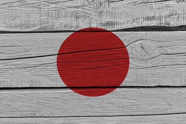 Japan flag painted on old wood plank