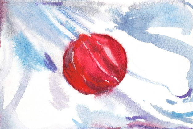 Japan, japanese flag. hand drawn watercolor illustration.