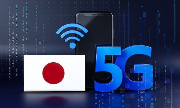 Japan ready for 5g connection concept. 3d rendering smartphone technology background