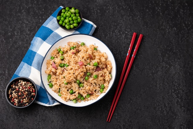 Japan rice fired with peas and chopstick