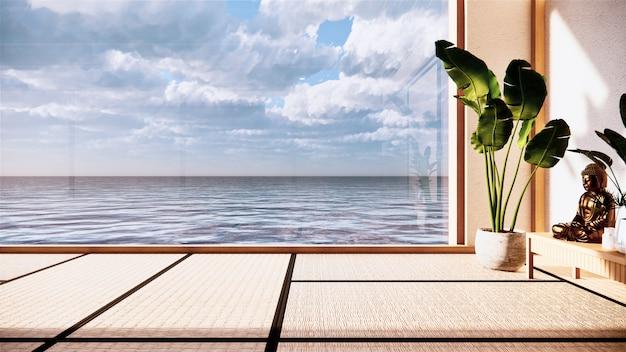 日本の部屋のインテリア-和風。ビュー海での3dレンダリング.3dレンダリング