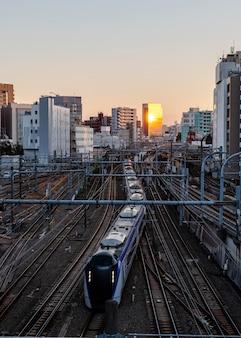 Japan train urban landscape