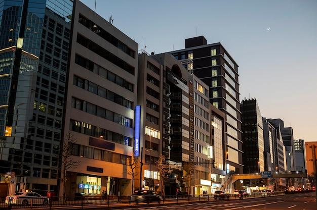 일본 도시 풍경 밤 시간