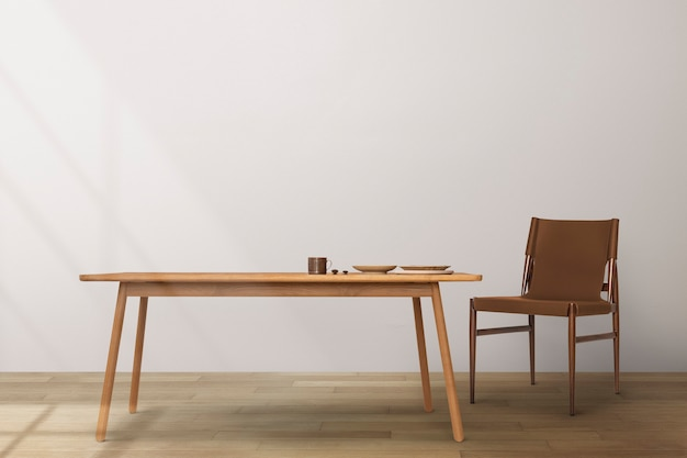 Interior design della sala da pranzo japandi con tavolo in legno