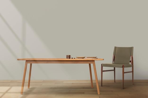 나무 테이블이 있는 japandi 식당 인테리어 디자인