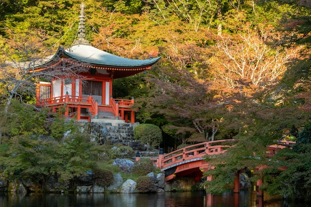 Japanese autumn fall. kyoto daigoji temple.