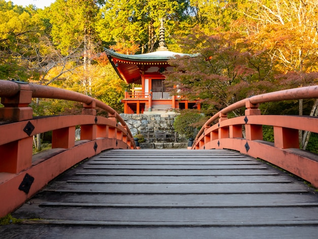 Японская осень осень. храм киото дайгоджи.