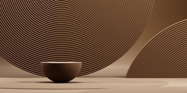 제품 프레 젠 테이 션 3d 렌더링 그림에 대 한 갈색 배경으로 일본 배경연단