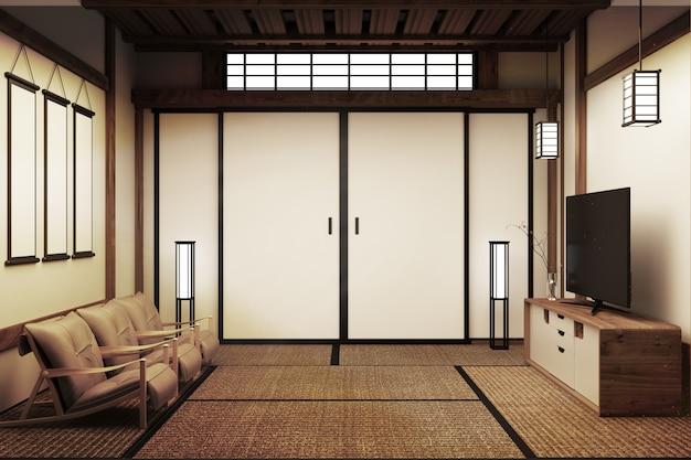 Japanese bedroom. 3d render