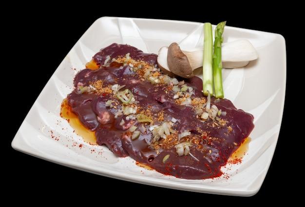 Japanese beef liver yakiniku menu.