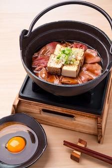 Japanese beef sukiyaki with grilled bean curd