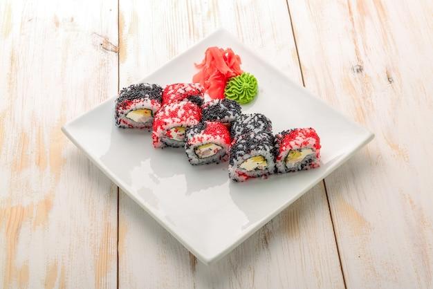 Japanese california roll with salmon, avocado, cucumber, cream with philadelphia cheese