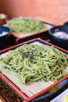 Japanese cha soba (green tea soba) in dish