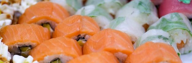 Японский крупным планом красочные суши фон концепции