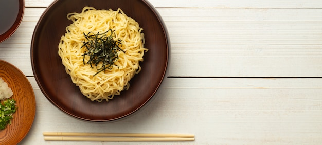 Japanese cold ramen noodles on a plate