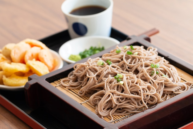Japanese cold ramen noodles with tempura set in japanese style