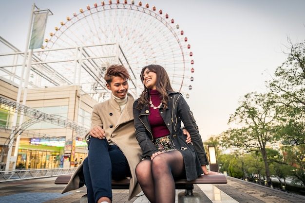 Japanese couple of lovers dating in osaka