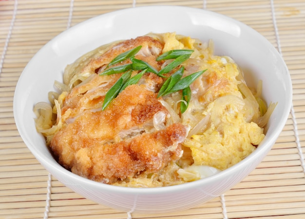 Japanese cuisine, pork cutlet and egg on rice (katsudon)