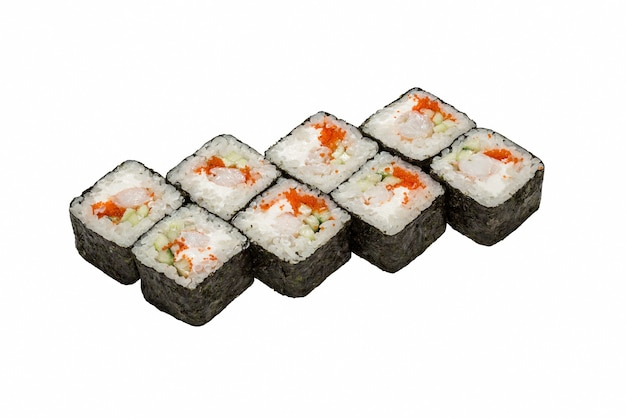 Japanese cuisine, sushi rolls on a white background isolated, close-up.