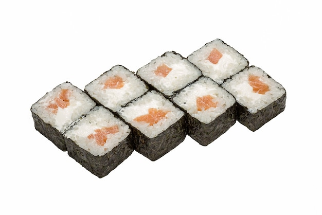 Japanese cuisine, sushi rolls on white background isolated, close-up.