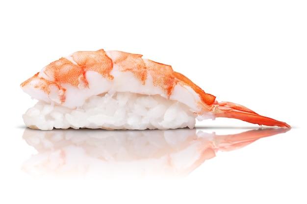 Japanese cuisine. sushi shrimp on color background