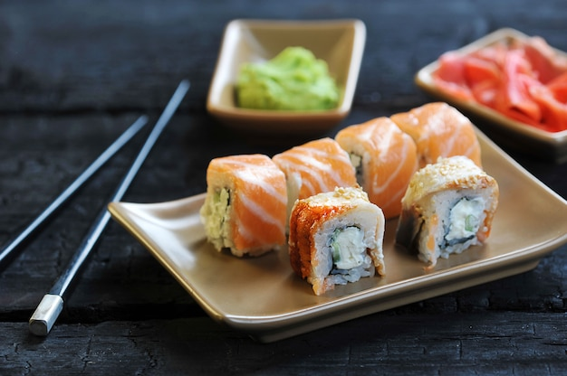 Japanese cuisine-sushi with salmon with wasabi and ginger