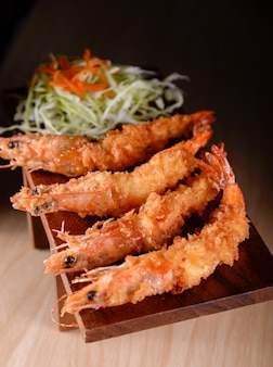 Japanese cuisine. tempura prawn on