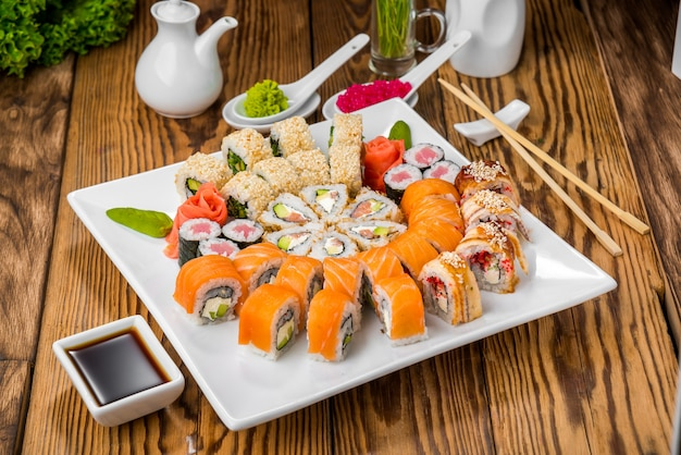 Japanese cuisine with fresh seafood