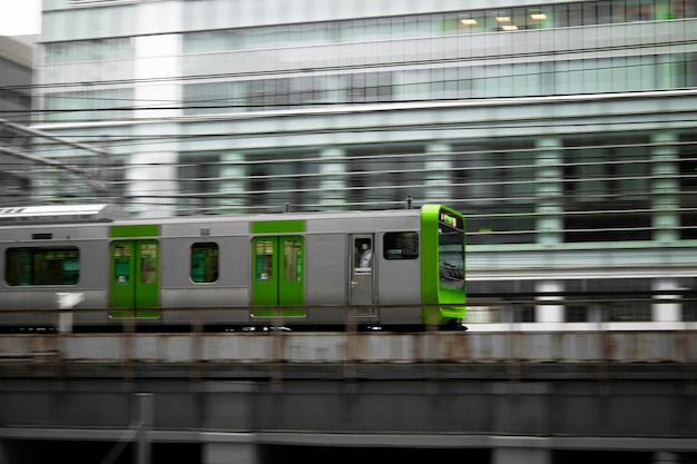 Japanese culture with train in city