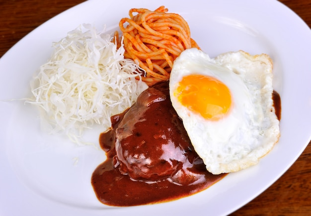 Japanese curry with hamberger meat.