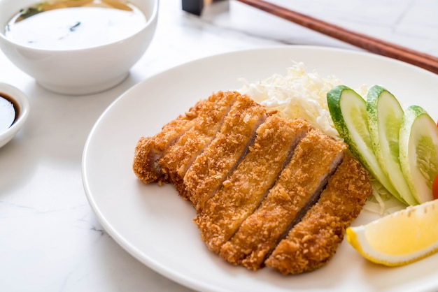 Japanese deep fried pork cutlet (tonkatsu set)