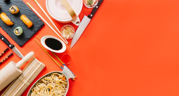 Japanese dishes composition
