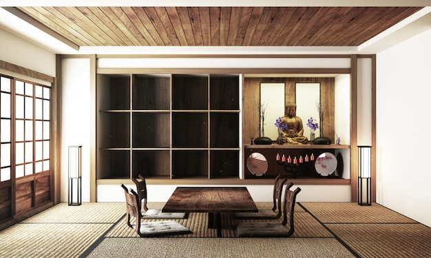 Japanese display room interior, wooden flooring on light white background. 3d rendering
