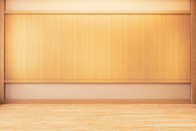 Japanese empty room wood on wooden floor japanese interior design.3d rendering