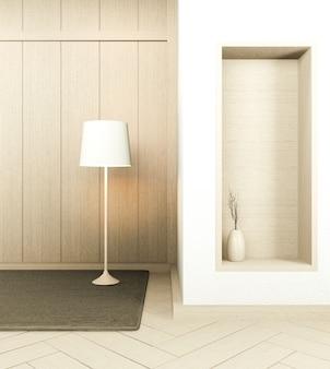 Japanese empty room wood on wooden floor japanese interior design.3d rendering