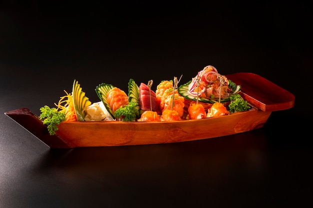 Japanese food combo in black background