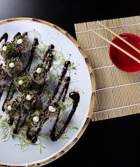 Japanese food delicious salmon uramaki sushi with rice