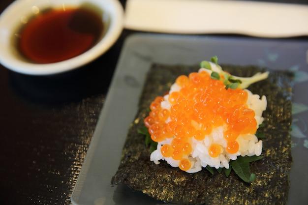 Japanese food ikura sushi , salmon roe with rice