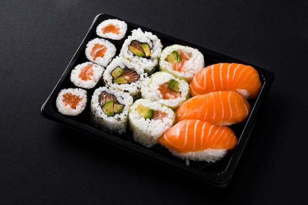 Japanese food: maki and nigiri sushi set