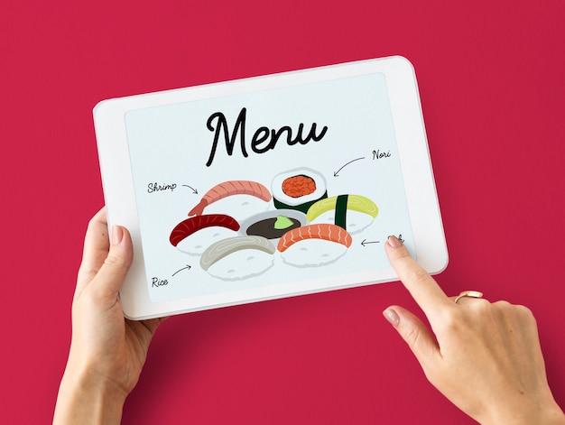 Концепция меню еды японской кухни