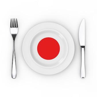 日本の食べ物や料理のコンセプト。白地に日本国旗のフォーク、ナイフ、プレート。 3dレンダリング