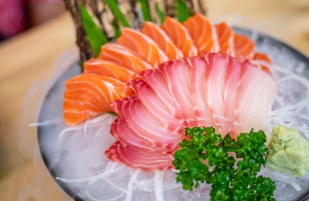 Japanese food, salmon sashimi.