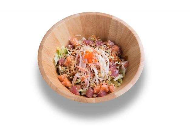 Japanese food sashimi salad appetizer dinner meal isolated on white background