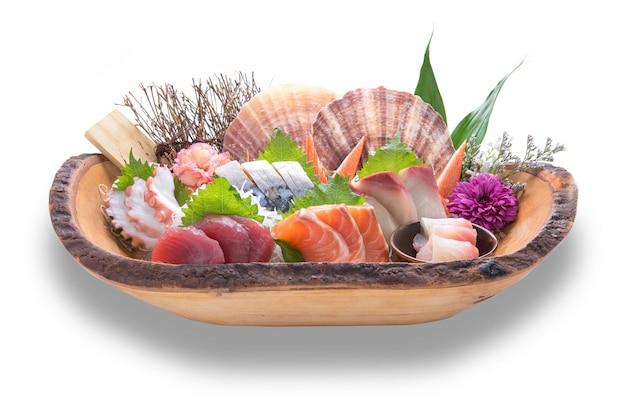 Japanese food sashimi set dinner meal isolated on white background