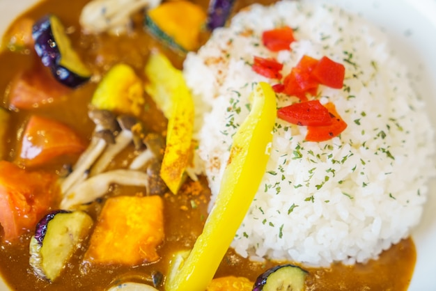 Japanese food style curry with rice
