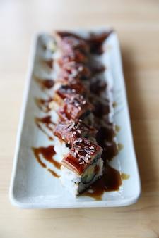 Japanese food sushi  eel roll maki