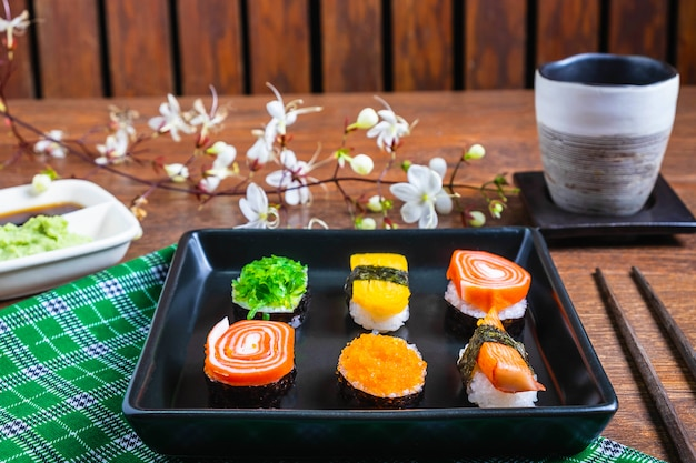 Japanese food sushi mix and wasabi and soy sauce